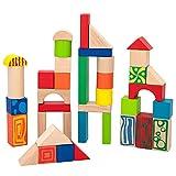WOOMAX - Piezas madera construcción niños, Bloques construcción madera, 50 piezas madera, madera 100% sostenible y biodegradable, Juegos de construcción, +18 meses (40994)