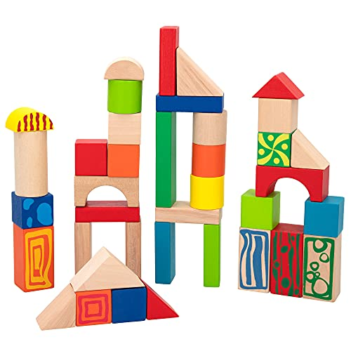 ColorBaby - Cubo, 50 bloques, madera natural (40994)