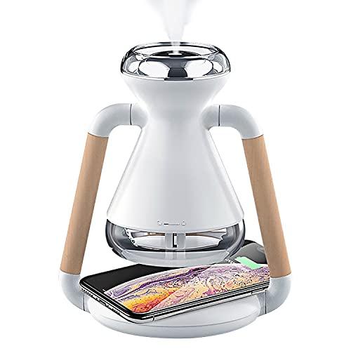 Healway Humidificador de aire USB portátil, difusor de aroma con cargador inalámbrico Qi, uso para carga inalámbrica del teléfono móvil