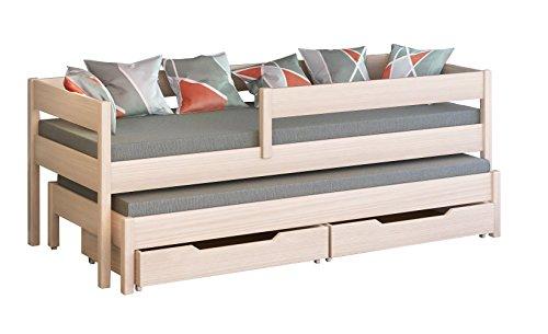 Cama individual Jula para niños, con nido Cajones incluidos. -, madera, Bleached Oak, 200x90/190x90
