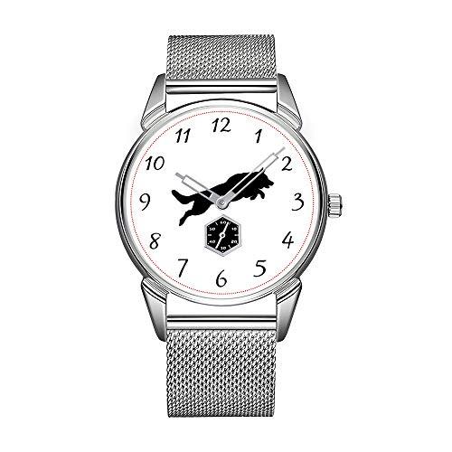 Reloj de hombre de moda de acero inoxidable plateado, resistente al agua, reloj de pulsera para hombre, marca superior, reloj de hombre, silueta de perro alemán