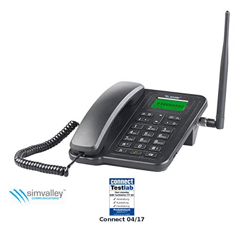 simvalley communications GSM Tischtelefon: GSM-Tisch-Telefon mit SMS-Funktion und Akku, ohne Vertrag & SIM-Lock (Telefon mit SIM Karte)
