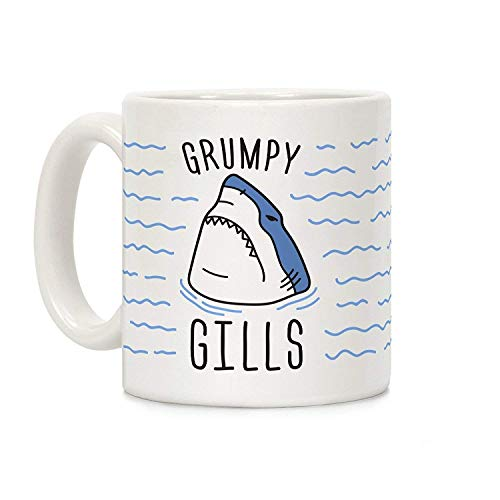 N\A Grumpy Gills Shark White Taza de café de cerámica de 11 onzas
