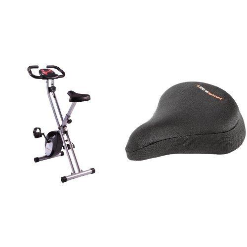 Ultrasport F-Bike - Bicicleta estática, peso máximo ca. 100 kg con funda para sillín de bicicleta con inserciones de gel