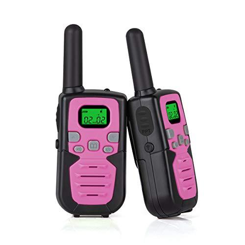 Funkprofi Walkie Talkies für Kinder, M-605 Funkgeräte Set Babyphone + LED Lampe PMR 446 VOX 3KM Reichweite 22 Kanal Pink
