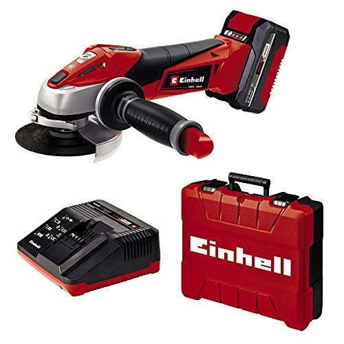 Einhell 4431119 Smerigliatrice Angolare Batteria Te-AG 18/115 Li Kit (1 X 3.0Ah), 18 V, 8500 Giri/min, Nero, Rosso