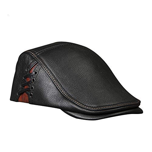 ZoSiP Boinas para Hombre Cómoda De Cuero For Hombre De La Vendimia De La Boina Casquillo Plano del Sombrero Gorra De Visera del Vendedor De Periódicos Estiramiento Boinas Gentleman