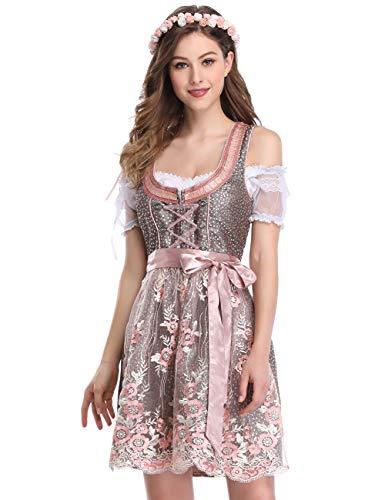 GloryStar Damen Deutsch Dirndl 3 Stück Trachtenoktoberfest-Kost me Halloween Karneval XX-Large Spitze-Rosa-zwei