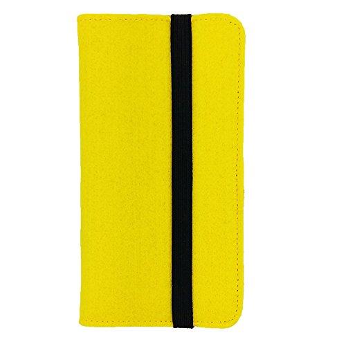 handy-point Universell Organizer für Smartphone Tasche aus Filz Filztasche Filzhülle Hülle Schutzhülle mit Kartenfach für Samsung, iPhone, Huawei (5,6-6,4 Zoll max 18 x 9,3 m, Gelb)