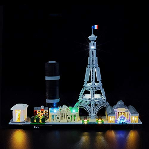 LED Leuchte für Architektur Paris Modellbau-Set mit Eiffelturm und Louvre, Skyline Collection kompatibel mit LEGO 21044 (nicht im Lieferumfang enthalten)
