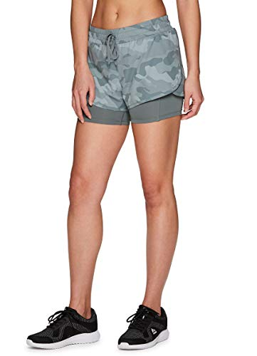RBX Active Women's Athletic Training Quick Dry Camo Print Workout Running Shorts with Attached Compression Bike Short and Pocket Camo Green L