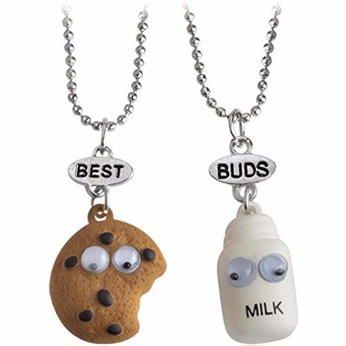 MJartoria Best Friend Necklaces Best Buds Friendship BFF Necklaces for 2 Cute Milk and Cookie Sunflower Birthday Gifts for Kids