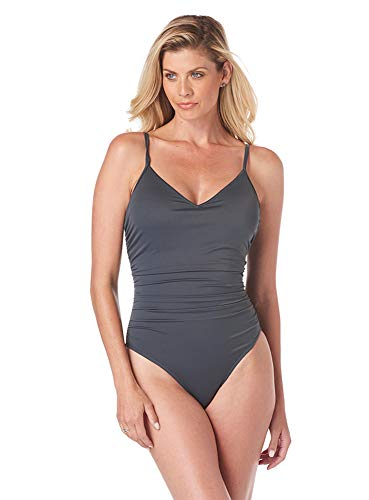 Magicsuit Women's Swimwear Solid Mikki V-Neck One Piece Swimsuit with Soft Cup Bra and Adjustable Straps, Slate, 16