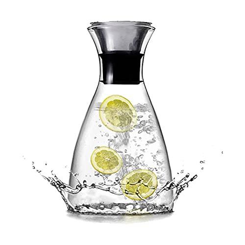 TTCI-RR Jarras Botella de Cristal de Agua fría, Resistente al Calor 1 Botella de un litro de Agua fría, Jugo del jarro con Tapa, Anti-explosión y Fuga Lateral de la Botella de Agua fría Agua