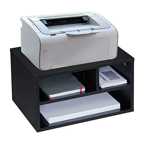 Relaxdays Druckerständer Schreibtisch, 3 Fächer, Regal für Drucker, MDF, Druckerhalter, HxBxT 22,5 x 40 x 30 cm, schwarz, 1 Stück