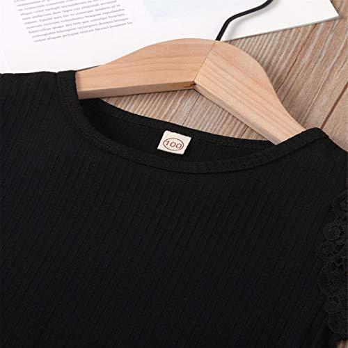 Conjunto de ropa de verano de 2 piezas para bebé, cuello redondo, volantes volantes, camiseta de manga corta + falda a cuadros con línea A para niñas de 1 a 6 años Negro 3-4 años