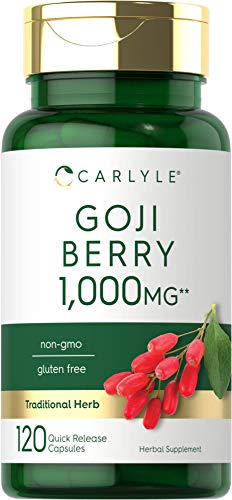 Goji Berry 1000mg | 120 Capsules | Concentrated Extract from Wolfberry Plant | Non-GMO, Gluten Free | by Carlyle