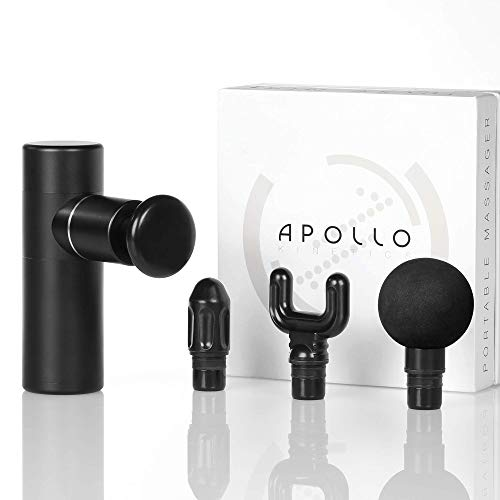 Apollo Kinetics Pulse Mini Portable Massage Gun for Pain Relief, Electric Deep Tissue Percussion Muscle Massager Drill, Deluxe Full Aluminum Body, 4 Heads Included