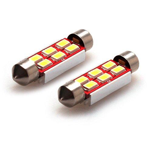 iDlumina Festoon 41mm 42mm C5W 561 562 563 564 566 567 570 578 6411 6451 6475 6476 7576 211-2 212-2 212-2 12V 6500K Pure White Canbus Error Free LED Car Light Bulb 6X5730SMD (Pack of 2)