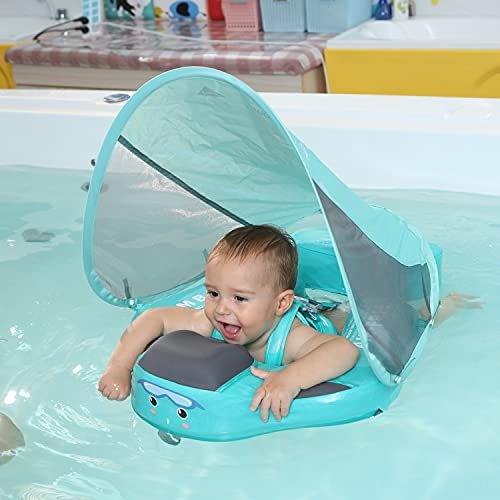 Upgrade Add Tail Mambobaby Float with Canopy for Infant Waist Swimming Ring Swim Trainer Non-Inflatable Floats Toys with Adjustable Safety Strap (Mambo Fish)