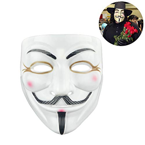Jourbon Halloween Maske New V Wie Vendetta Maske mit Eyeliner Nostril Anonymous Guy Fawkes Fancy Adult Kostüm Zubehör Kleid Erwachsene