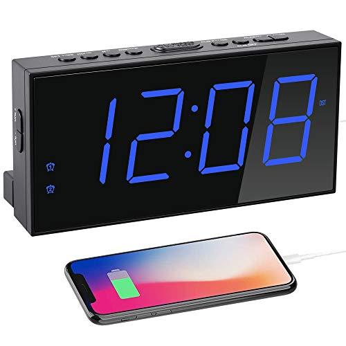 Digital Dual Alarm Clock for Bedrooms, 7'' Large LED Display Clock USB Charger, Dimmer,4 Alarm Volume,12/24H,Easy Set Loud Plug in Clock Battery Backup for Heavy Sleeper Kids Senior Boy Girl Teen Home
