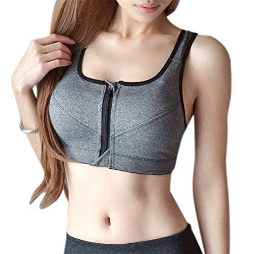 ASOSMOS Damen Anti-Sagging ohne Bügel Gepolstert Sport BH Bauchfreies Top Reißverschluss Vorne für Aerobic Fitness Yoga - Grau, XL