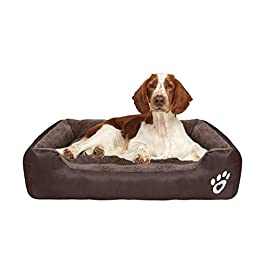 FRISTONE Dog Beds Medium Washable Pet Basket Orthopedic Kennel Bed for Small Large Dogs Deluxe Fleece Cushion Blanket XXL