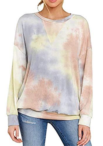 YMING Frauen Lose V-Ausschnitt Tops Langarm Tie Dye Sweatshirt V-Ausschnitt Oberteil Khaki L