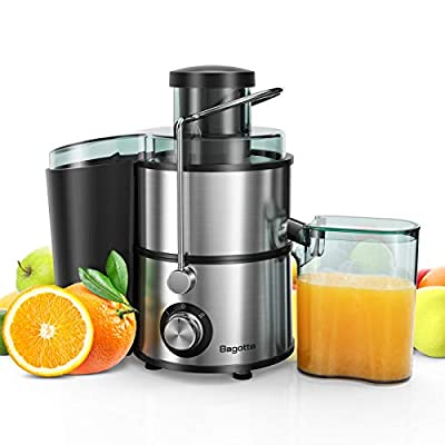 Juicer, Bagotte Centrifugal Juicer Compact Fruits and Vegetables Juice Extractor, Dual Speed Wide Mouth Juicer Machines, BPA Free, Stainless Steel, Easy to Clean