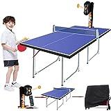 WNN-URG 2020 Cubierta del Ping-Pong del Robot con Mesa de Ping Pong for los niños, 36 Conjuntos de giros Tenis práctica de la formación (Tenis de Mesa Mesa de Ping-Pong + Bola Lanzador de la Cubierta