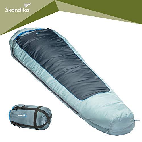 skandika Schlafsack Nevada | Mumienschlafsack | Sommerschlafsack | bis -10° C | 230 x 80 cm | koppelbar | mit Reißverschluss-Sperre | RV Links