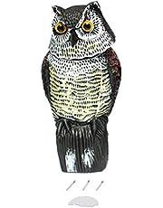 MXECO Realistic Owl Decoy con Cabeza giratoria Protección de jardín Repelente de Aves Pest Scarer Scarecrow Caza Señuelos para Hunter
