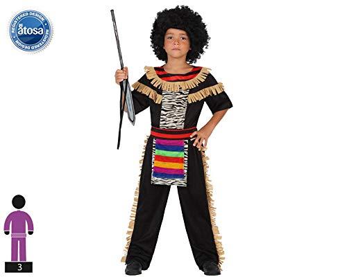 Atosa-guerrero Disfraz Zulú, color (schwarz/bunt), 5 a 6 años (23217)