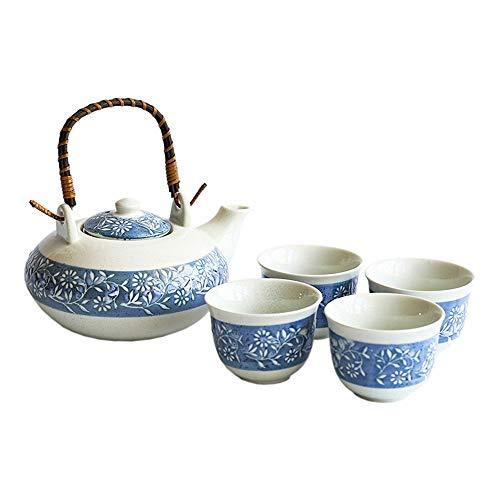 Abendessen Japanischen Stil Retro Glaze Teekanne und Teetassen Set Service for 4 Erwachsene schön verpackt in Geschenkbox Excellent Home Decor Asian Tee-Set ( Farbe : Blau , Größe : Einheitsgröße )