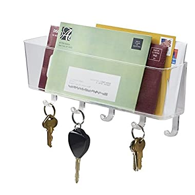 mDesign Mail, Letter Holder, Key Rack Organizer for Office, Entryway, Kitchen - Wall Mount, Clear
