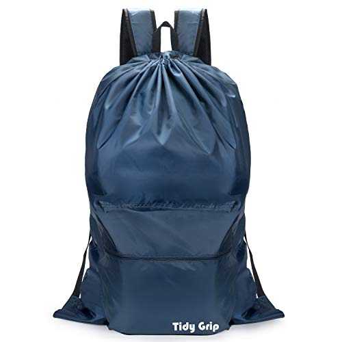 TidyGrip XXL Laundry Backpack  25 x 37 inches  Heavy Duty Waterproof Laundry Travel Bag  Fully Padded Adjustable Shoulder Straps  Chest Strap  Tear Resistant  Multiple Storage Space