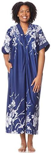 AmeriMark Women s Long Length Caftan Hawaiian Muu Muu Night Gown with Pocket Navy XL product image