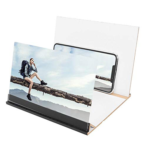 QINGJIA 12-Zoll-Handy 3D-Screen Video Lupe 8/9' Folding Curved Vergrößerte Smartphone Film Verstärkungs-Projektor Standhalter Lesen/Naturbeobachtung/Reparatur (Color : Blue)