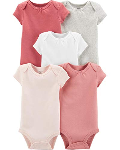 Carter's Baby Girls' Multi-pk Bodysuits (Heather/Ivory/Pink, Newborn)