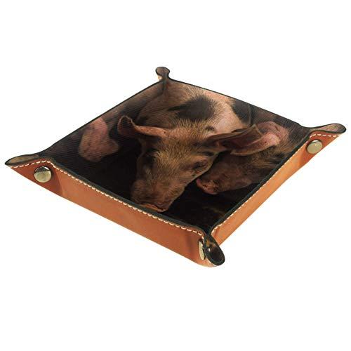 XiangHeFu Bandeja de Cuero Cerdos en Jaula Almacenamiento Bandeja Organizador Bandeja de Almacenamiento Multifunción de Piel para Relojes,Llaves,Teléfono,Monedas