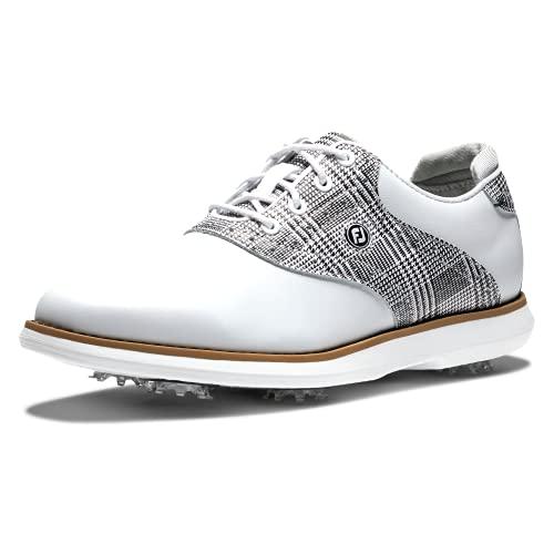 FootJoy Women's Traditions Golf Shoe, White/Black Plaid, 8.5