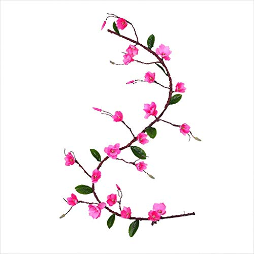 THj Artificial Magnolia Blossom Wall Hanging Vine Silk Floral Garland Flowers String Fake Flowers Garland For Home Wedding Arch Outdoor Garden Wall Decor Party Decoration,Red