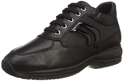 Geox D Happy B-Smooth Leather, Scarpe da Ginnastica Donna, Nero, 37.5 EU