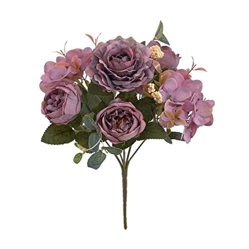 ZHMYENGMING Flores Artificiales Vintage European Retro Ramo de Boda Decoración for el hogar Artificial Fake Peony Peony Bouquet (Color : Purple)
