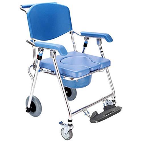 MY1MEY Kommodestühle Kommodestuhl, Gesundheitspflege Zusammenklappbar Feste Höhe Mobiler Kommodestuhl und Toilettenstuhl, Duschstuhl mit Rädern und Bremsen für Badezimmer Toilettenhocker Senioren Be