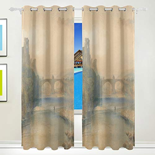 XiangHeFu Morden Blackout Curtains with Grommet Top Ancient Castle Draperies Set of 2 Panels,Each 55W x 84L inch for Home Living Room Bedroom Office