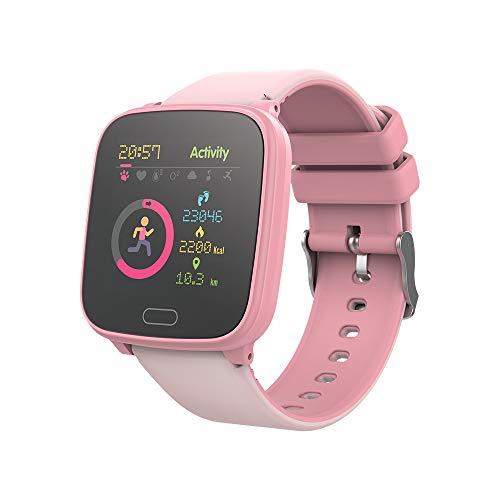 FOREVER GO JW-100 - Reloj inteligente para niños con pasos, hora, fecha, gestión de música, alarma, color rosa