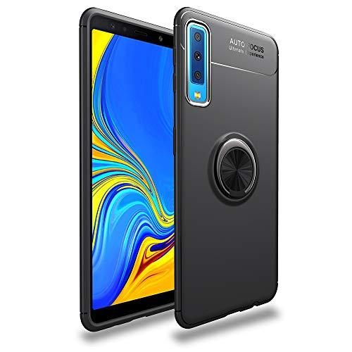 LAGUI Funda Adecuado para Samsung Galaxy A70, Soporte de Montaje Magnético del Coche Carcasa Especial, con Anilla Posterior, Pistola Color+Negro
