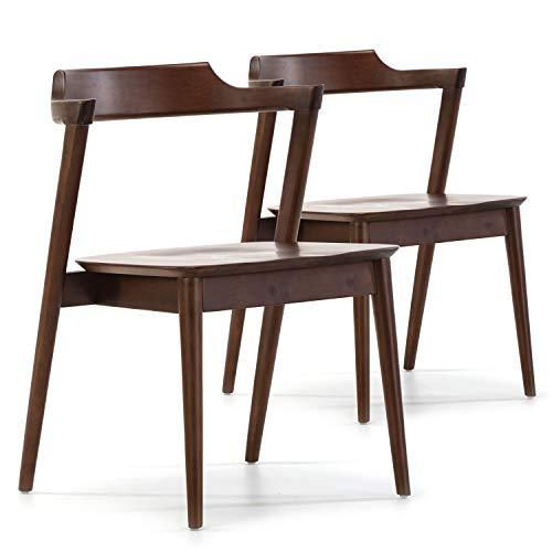 VS Venta-stock Pack 2 sillas Venus Color Nogal, Madera Maciza, 58 cm (Largo) 57,5 cm (Profundo) 76 cm (Alto)